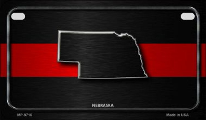 Nebraska Thin Red Line Novelty Motorcycle License Plate MP-9716
