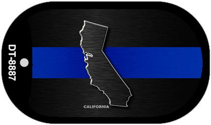California Thin Blue Line Novelty Dog Tag Necklace DT-8887