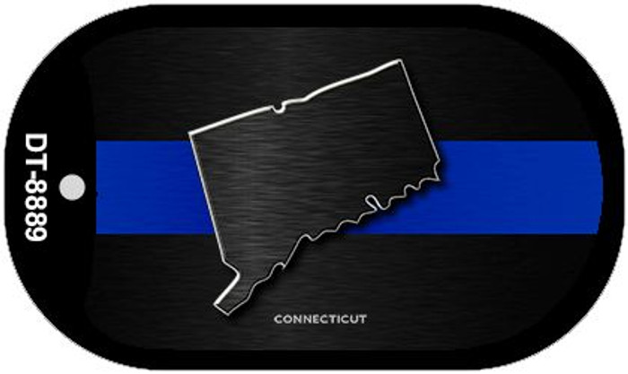 Connecticut Thin Blue Line Novelty Dog Tag Necklace DT-8889