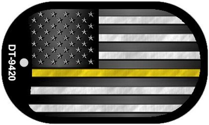 AM Flag Yellow Novelty Dog Tag Necklace DT-9420