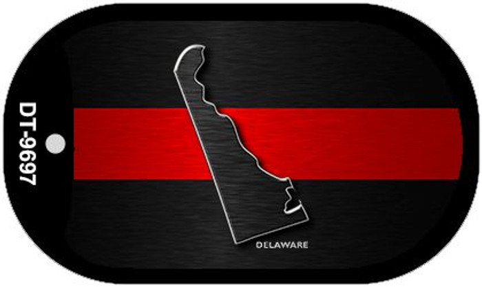 Delaware Thin Red Line Novelty Dog Tag Necklace DT-9697