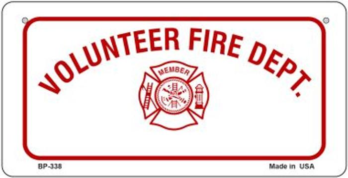 Volunteer Fire Dept Novelty Bicycle License Plate BP-338