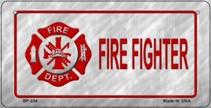 Fire Fighter Novelty Bicycle License Plate BP-334