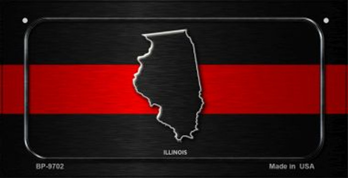 Illinois Thin Red Line Novelty Bicycle License Plate BP-9702