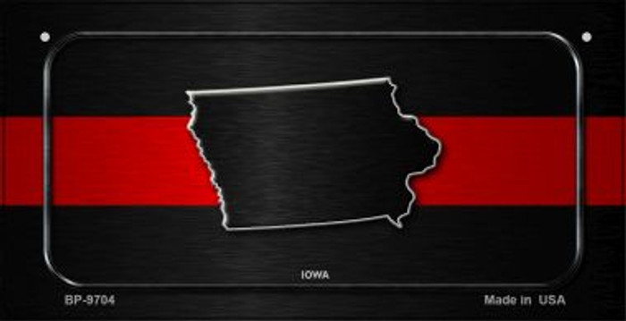 Iowa Thin Red Line Novelty Bicycle License Plate BP-9704