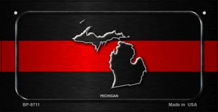 Michigan Thin Red Line Novelty Bicycle License Plate BP-9711