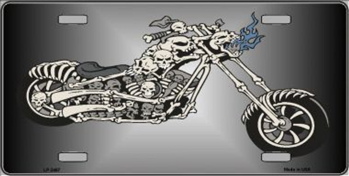 Chopper Skull Metal Novelty License Plate LP-3467