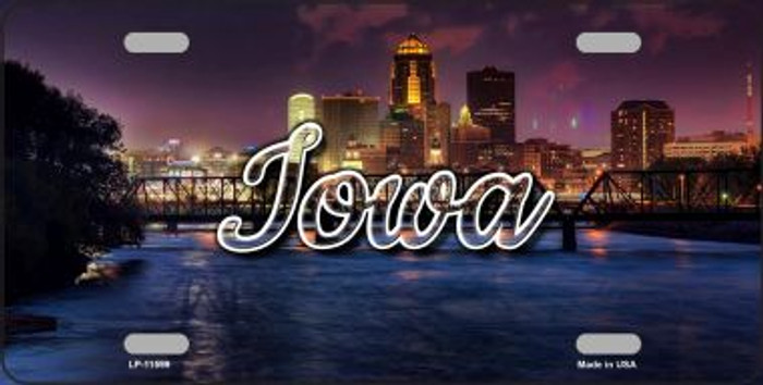 Iowa Bridge City Lights State License Plate LP-11599