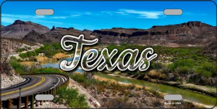Texas Open Mountain Road Novelty Metal License Plate LP-11633