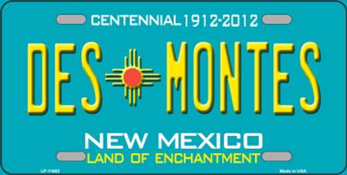 Des Montes Teal New Mexico Novelty License Plate LP-11652
