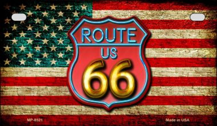 Route 66 American Flag Neon Novelty Motorcycle License Plate MP-8521