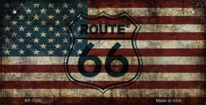 Route 66 American Flag Novelty Bicycle License Plate BP-7858