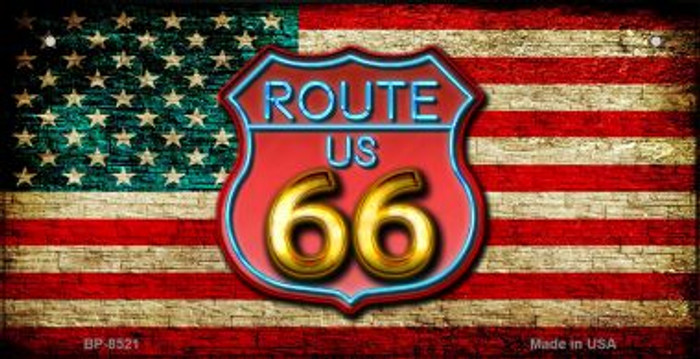 Route 66 American Flag Neon Novelty Bicycle License Plate BP-8521