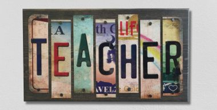 Teacher License Plate Strip Novelty Wood Sign WS-003