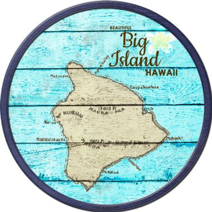 Big Island Hawaii Map Novelty Metal Circular Sign C-818