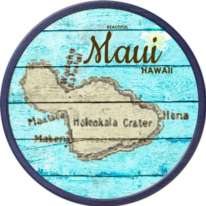 Maui Hawaii Map Novelty Metal Circular Sign C-819
