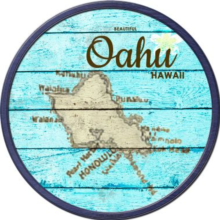 Oahu Hawaii Map Novelty Metal Circular Sign C-820