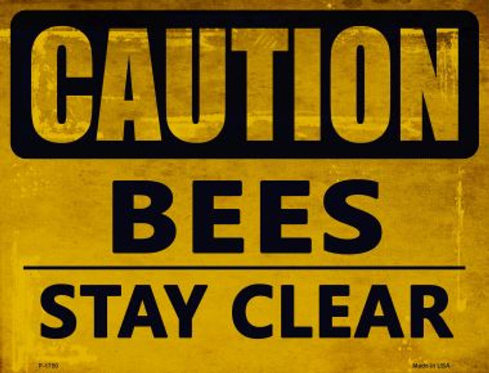 Caution Bees Stay Clear Parking Sign Metal Novelty P-1750