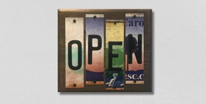 Open License Plate Strip Novelty Wood Sign WS-008