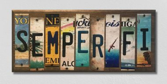 Semper Fi License Plate Strip Novelty Wood Sign WS-014