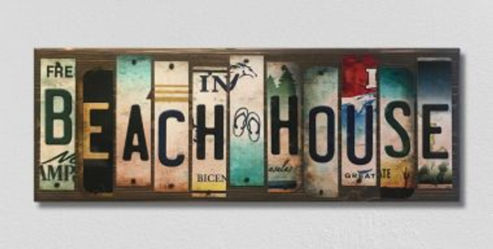 Beach House License Plate Strip Novelty Wood Sign WS-017