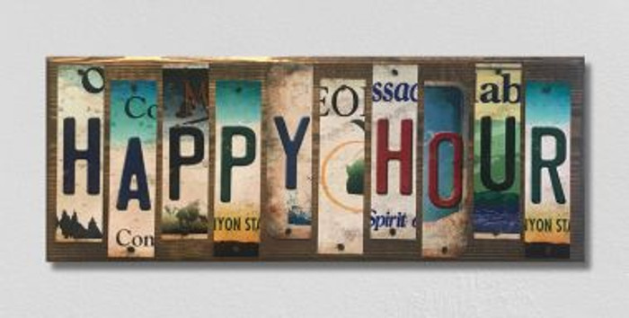 Happy Hour License Plate Strip Novelty Wood Sign WS-025