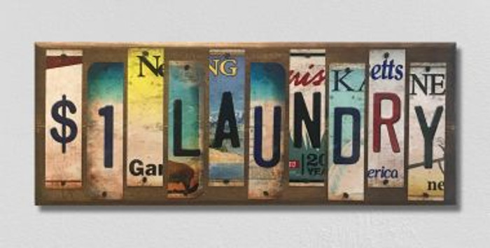 1 Dollar Laundry License Plate Strip Wholesale Novelty Wood Sign WS-030