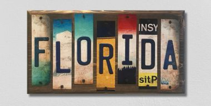 Florida License Plate Strip Novelty Wood Sign WS-036