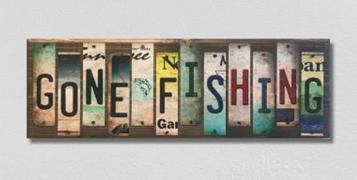 Gone Fishing License Plate Strip Novelty Wood Sign WS-038