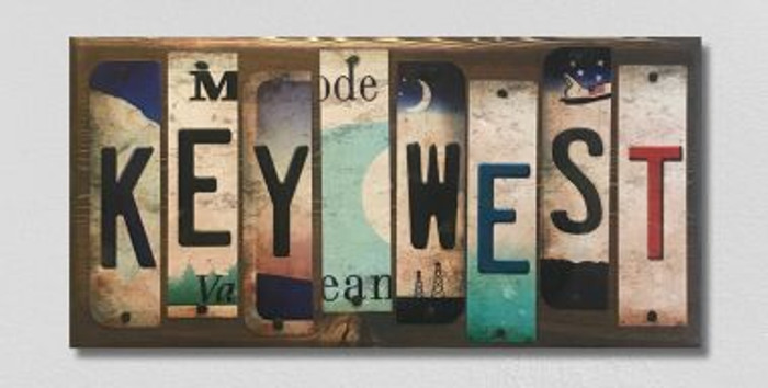 Key West License Plate Strip Novelty Wood Sign WS-044