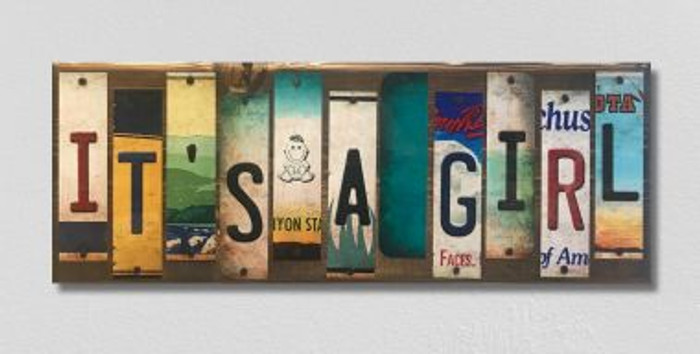 It's A Girl License Plate Strip Novelty Wood Sign WS-050