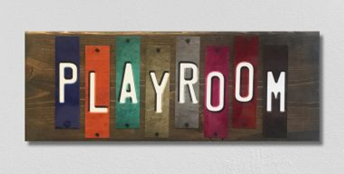 Playroom License Plate Strip Novelty Wood Sign WS-053