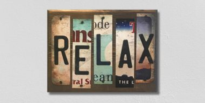 Relax License Plate Strip Novelty Wood Sign WS-058