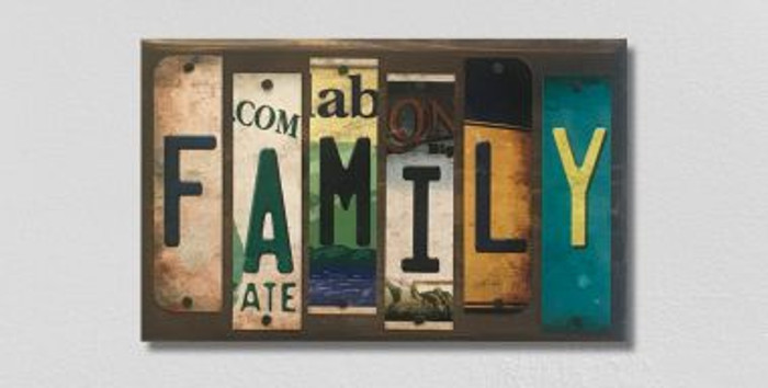 Family License Plate Strip Novelty Wood Sign WS-062