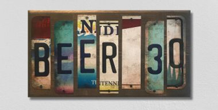 Beer 30 License Plate Strip Novelty Wood Sign WS-063
