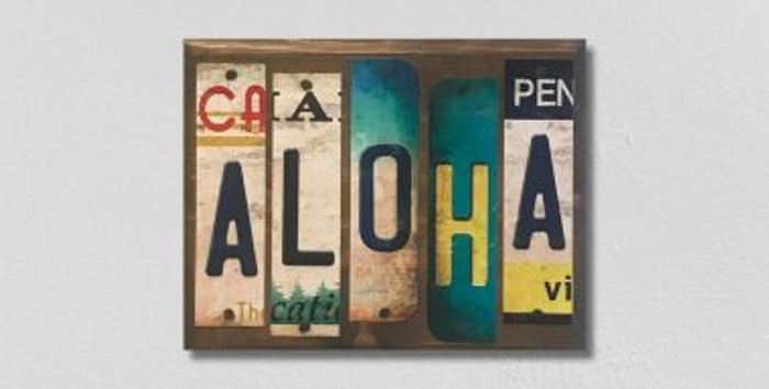 Aloha License Plate Strip Novelty Wood Sign WS-064