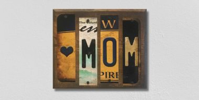 Love Mom License Plate Strip Novelty Wood Sign WS-067