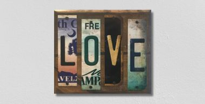 Love License Plate Strip Novelty Wood Sign WS-068