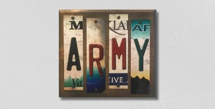 Army License Plate Strip Novelty Wood Sign WS-072
