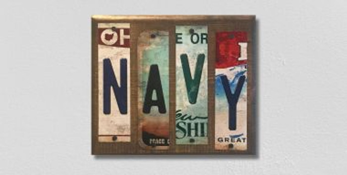 Navy License Plate Strip Novelty Wood Sign WS-075