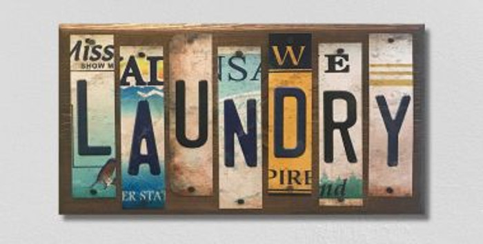 Laundry License Plate Strip Novelty Wood Sign WS-076