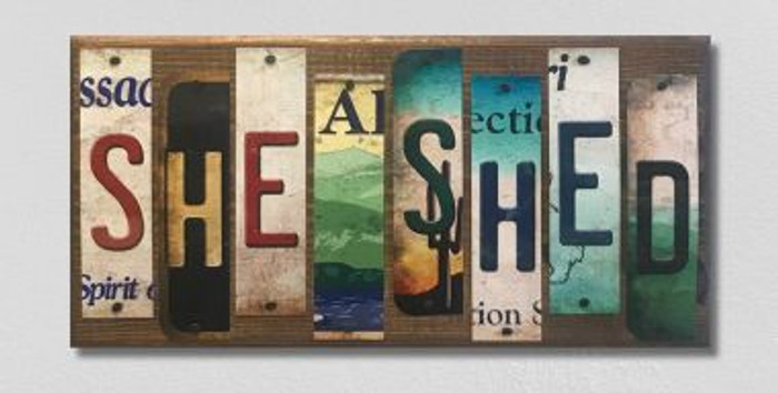 She Shed License Plate Strip Novelty Wood Sign WS-079