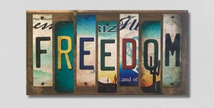 Freedom License Plate Strip Novelty Wood Sign WS-083