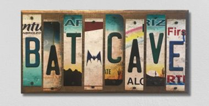 Bat Cave License Plate Strips Novelty Wood Sign WS-089