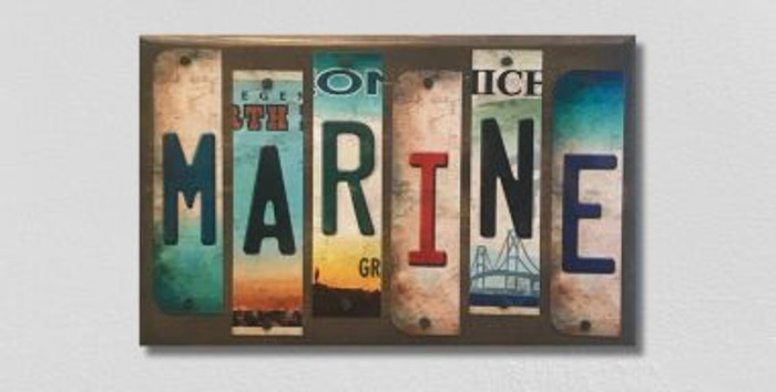 Marine License Plate Strips Novelty Wood Sign WS-093
