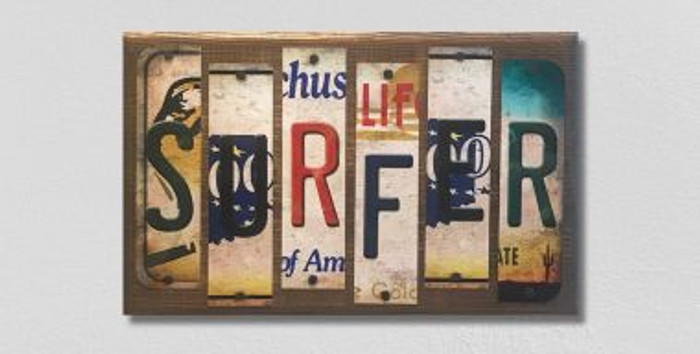 Surfer License Plate Strips Novelty Wood Sign WS-094