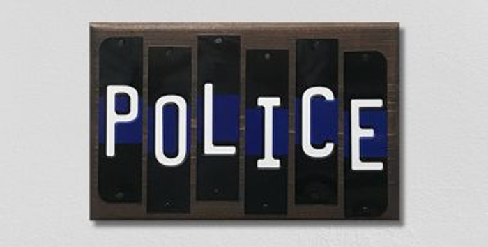 Police Thin Blue Line Fun Strips Novelty Wood Sign WS-121