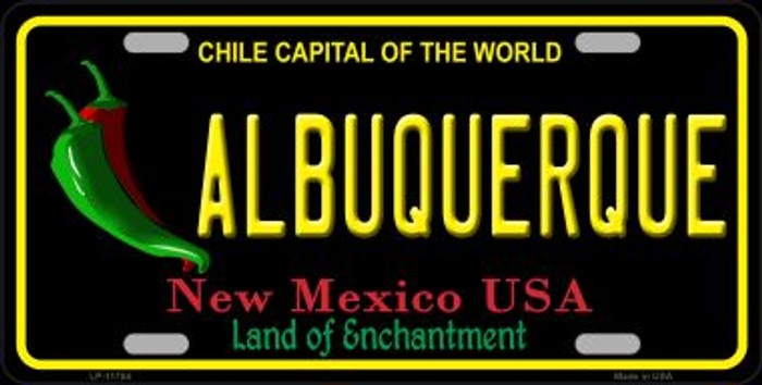 Albuquerque New Mexico Black Novelty State License Plate LP-11754