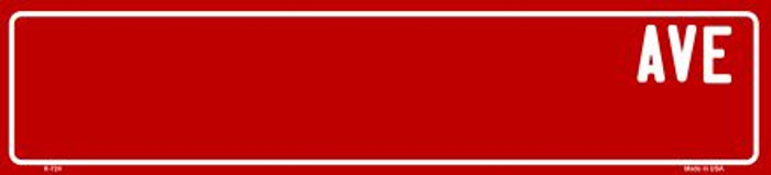 Red Avenue Blank Novelty Small Street Sign K-724