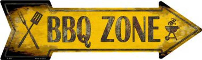BBQ Zone Novelty Metal Arrow Sign A-403
